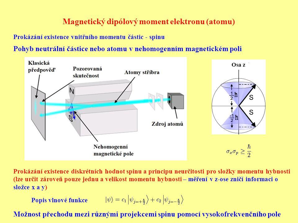Magnetický dipólový moment elektronu (atomu) Prokázání existence vnitřního momentu částic - spinu Pohyb neutrální částice nebo atomu v nehomogenním magnetickém poli Prokázání existence diskrétních hodnot spinu a principu neurčitosti pro složky momentu hybnosti (lze určit zároveň pouze jednu a velikost momentu hybnosti – měření v z-ose zničí informaci o složce x a y) Osa z Popis vlnové funkce Možnost přechodu mezi různými projekcemi spinu pomocí vysokofrekvenčního pole