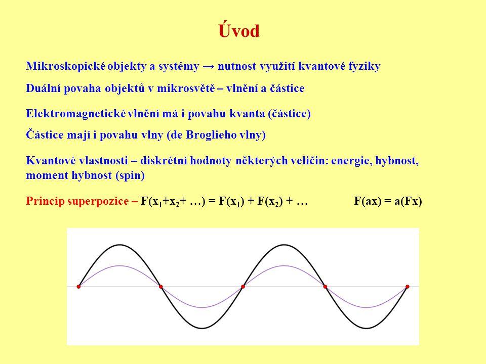 Úvod Mikroskopické objekty a systémy → nutnost využití kvantové fyziky Duální povaha objektů v mikrosvětě – vlnění a částice Elektromagnetické vlnění má i povahu kvanta (částice) Částice mají i povahu vlny (de Broglieho vlny) Kvantové vlastnosti – diskrétní hodnoty některých veličin: energie, hybnost, moment hybnost (spin) Princip superpozice – F(x 1 +x 2 + …) = F(x 1 ) + F(x 2 ) + … F(ax) = a(Fx)