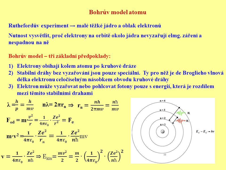 Bohrův model atomu Ruthefordův experiment → malé těžké jádro a oblak elektronů Nutnost vysvětlit, proč elektrony na orbitě okolo jádra nevyzařují elmg.