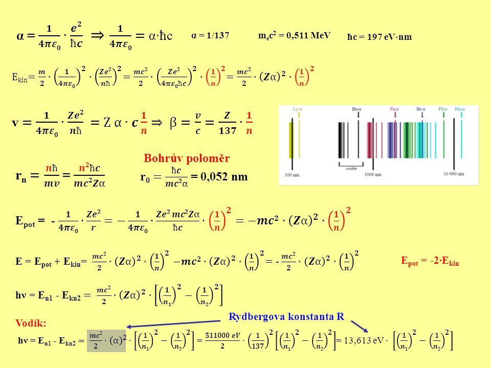 α = 1/137 m e c 2 = 0,511 MeV ħc = 197 eV  nm E pot = -2∙E kin Rydbergova konstanta R