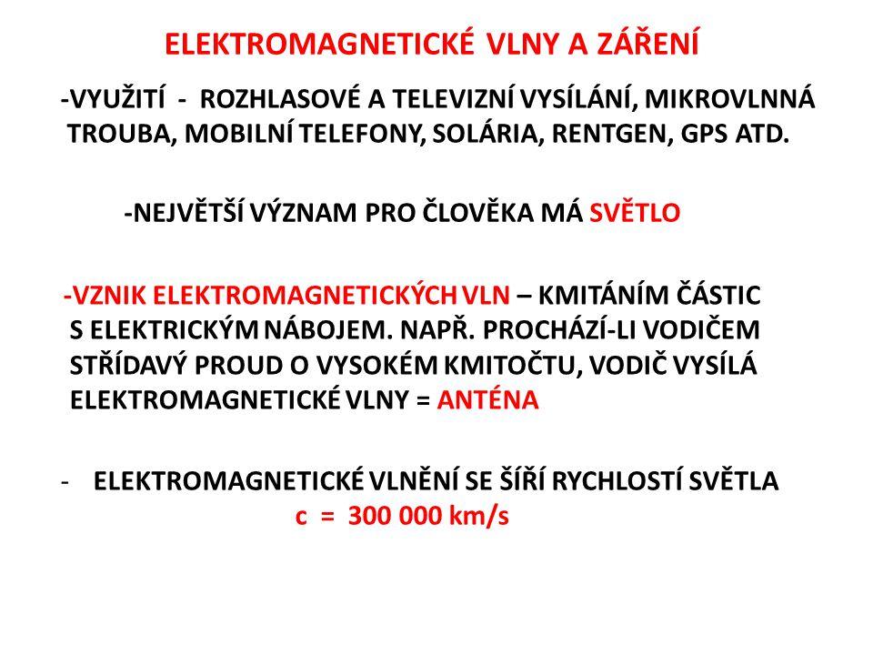 ELEKTROMAGNETICKÉ VLNY A ZÁŘENÍ -VYUŽITÍ - ROZHLASOVÉ A TELEVIZNÍ VYSÍLÁNÍ, MIKROVLNNÁ TROUBA, MOBILNÍ TELEFONY, SOLÁRIA, RENTGEN, GPS ATD. -NEJVĚTŠÍ