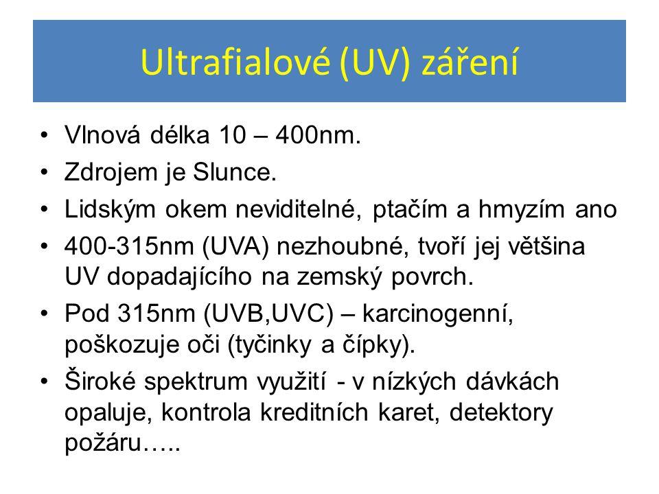 Ultrafialové (UV) záření Vlnová délka 10 – 400nm. Zdrojem je Slunce. Lidským okem neviditelné, ptačím a hmyzím ano 400-315nm (UVA) nezhoubné, tvoří je