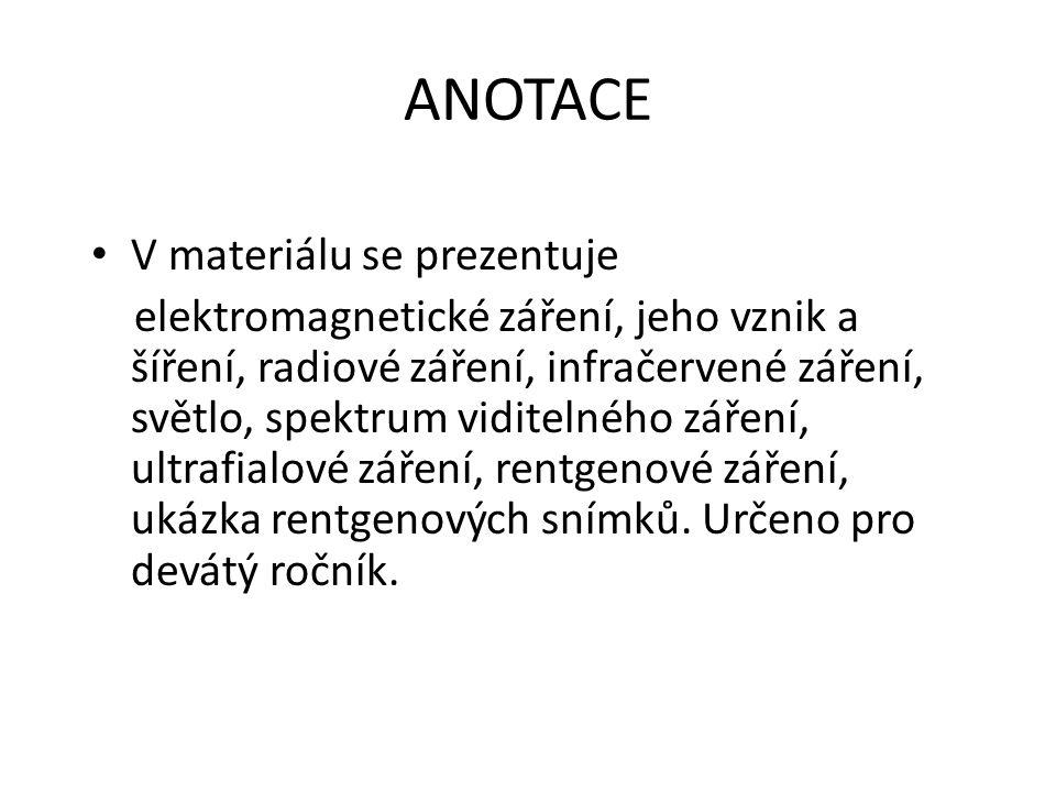 ANOTACE V materiálu se prezentuje elektromagnetické záření, jeho vznik a šíření, radiové záření, infračervené záření, světlo, spektrum viditelného zář