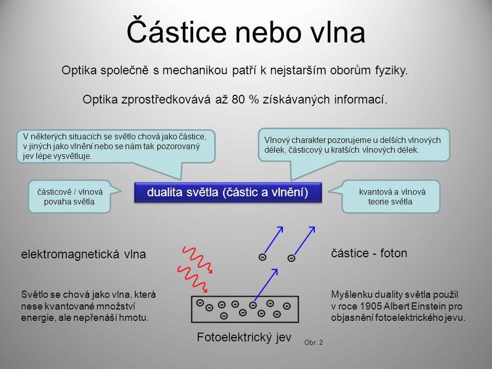 Obr. 2 Částice nebo vlna Optika společně s mechanikou patří k nejstarším oborům fyziky. Optika zprostředkovává až 80 % získávaných informací. dualita