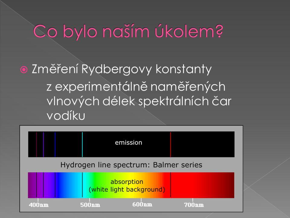  Změření Rydbergovy konstanty z experimentálně naměřených vlnových délek spektrálních čar vodíku