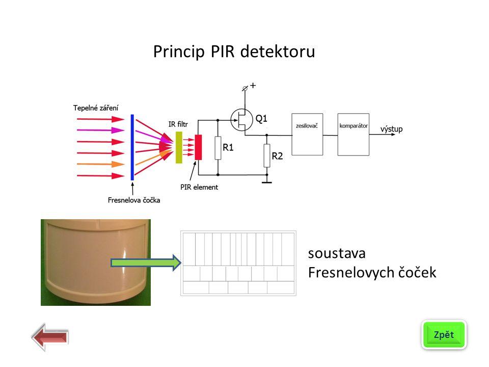 soustava Fresnelovych čoček Zpět Princip PIR detektoru