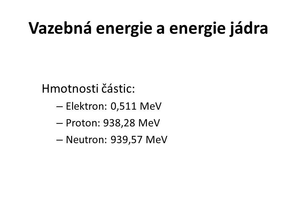 Vazebná energie a energie jádra Hmotnosti částic: – Elektron: 0,511 MeV – Proton: 938,28 MeV – Neutron: 939,57 MeV