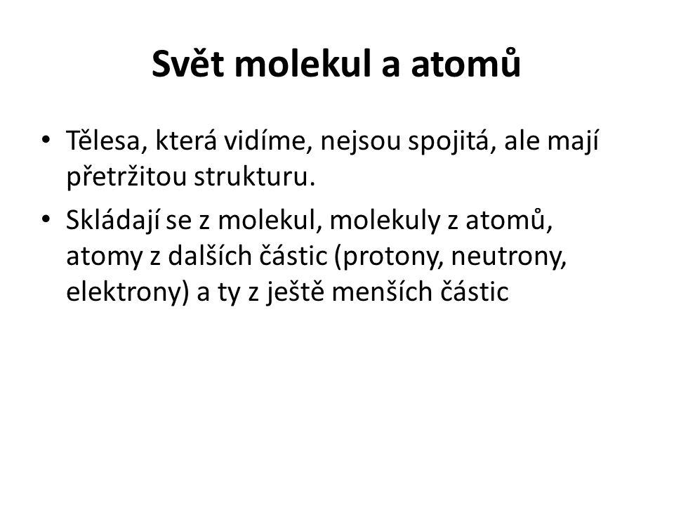 Svět molekul a atomů Tělesa, která vidíme, nejsou spojitá, ale mají přetržitou strukturu.