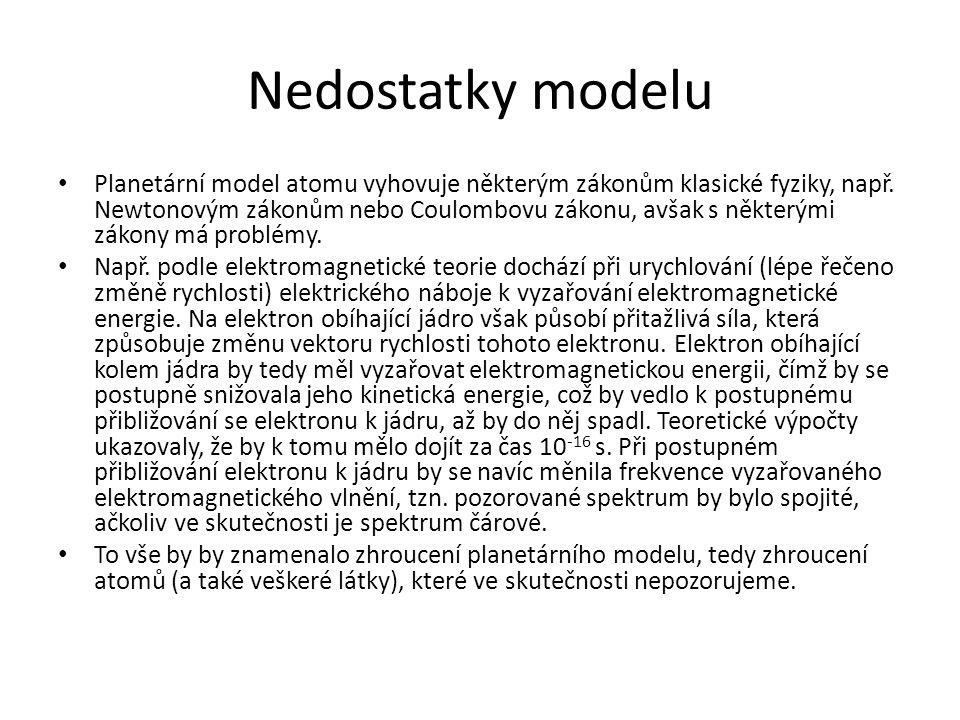 Nedostatky modelu Planetární model atomu vyhovuje některým zákonům klasické fyziky, např.