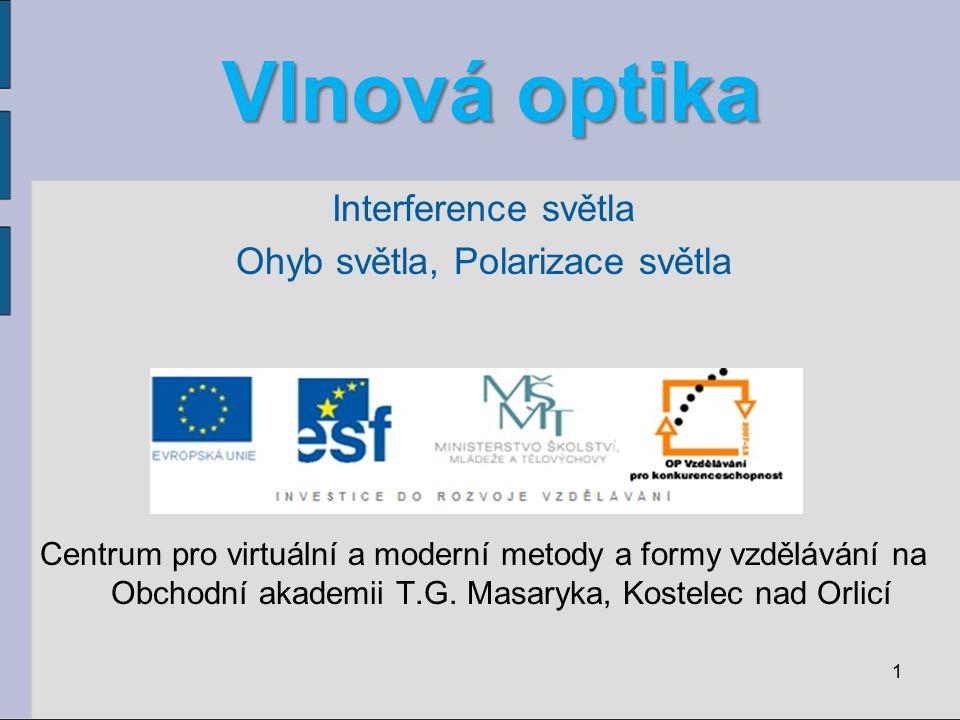 Vlnová optika Interference světla Ohyb světla, Polarizace světla Centrum pro virtuální a moderní metody a formy vzdělávání na Obchodní akademii T.G.