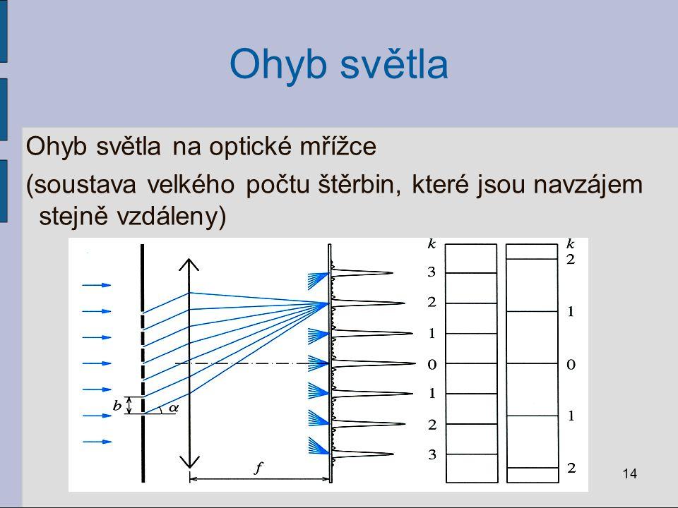Ohyb světla Ohyb světla na optické mřížce (soustava velkého počtu štěrbin, které jsou navzájem stejně vzdáleny) 14