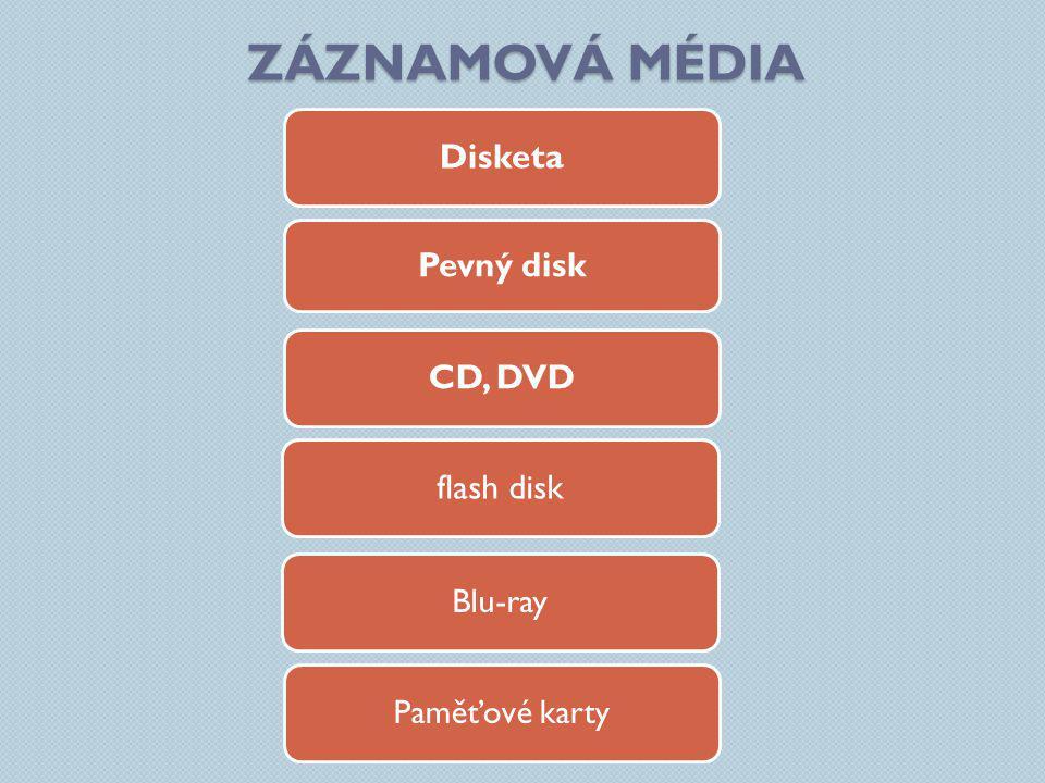 ZÁZNAMOVÁ MÉDIA Disketa CD, DVD flash disk Pevný disk Blu-ray Paměťové karty