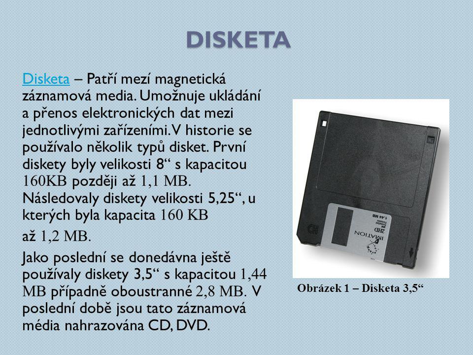 DISKETA DisketaDisketa – Patří mezí magnetická záznamová media. Umožnuje ukládání a přenos elektronických dat mezi jednotlivými zařízeními. V historie