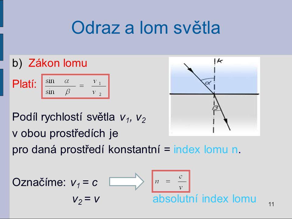 Odraz a lom světla b)Zákon lomu Platí: Podíl rychlostí světla v 1, v 2 v obou prostředích je pro daná prostředí konstantní = index lomu n. Označíme: v