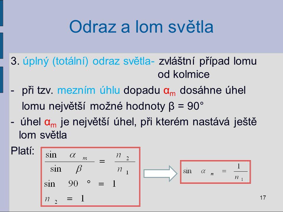 Odraz a lom světla 3. úplný (totální) odraz světla- zvláštní případ lomu od kolmice -při tzv. mezním úhlu dopadu α m dosáhne úhel lomu největší možné