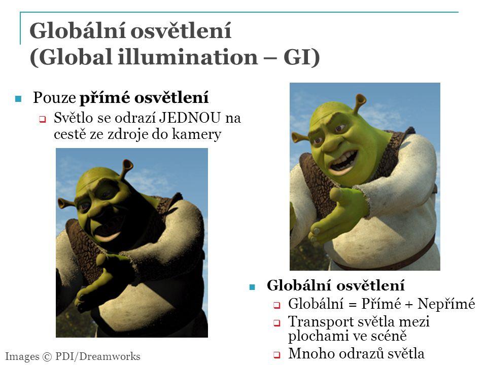 11 Pouze přímé osvětlení  Světlo se odrazí JEDNOU na cestě ze zdroje do kamery Images © PDI/Dreamworks Globální osvětlení  Globální = Přímé + Nepřímé  Transport světla mezi plochami ve scéně  Mnoho odrazů světla Globální osvětlení (Global illumination – GI)