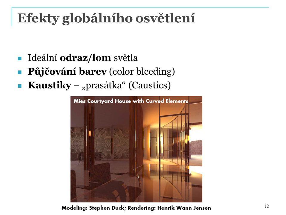 """12 Efekty globálního osvětlení Ideální odraz/lom světla Půjčování barev (color bleeding) Kaustiky – """"prasátka (Caustics)"""