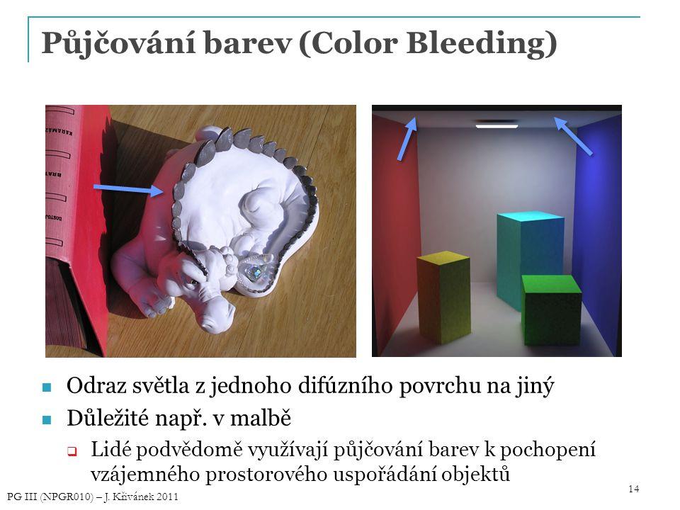 14 Půjčování barev (Color Bleeding) Odraz světla z jednoho difúzního povrchu na jiný Důležité např. v malbě  Lidé podvědomě využívají půjčování barev