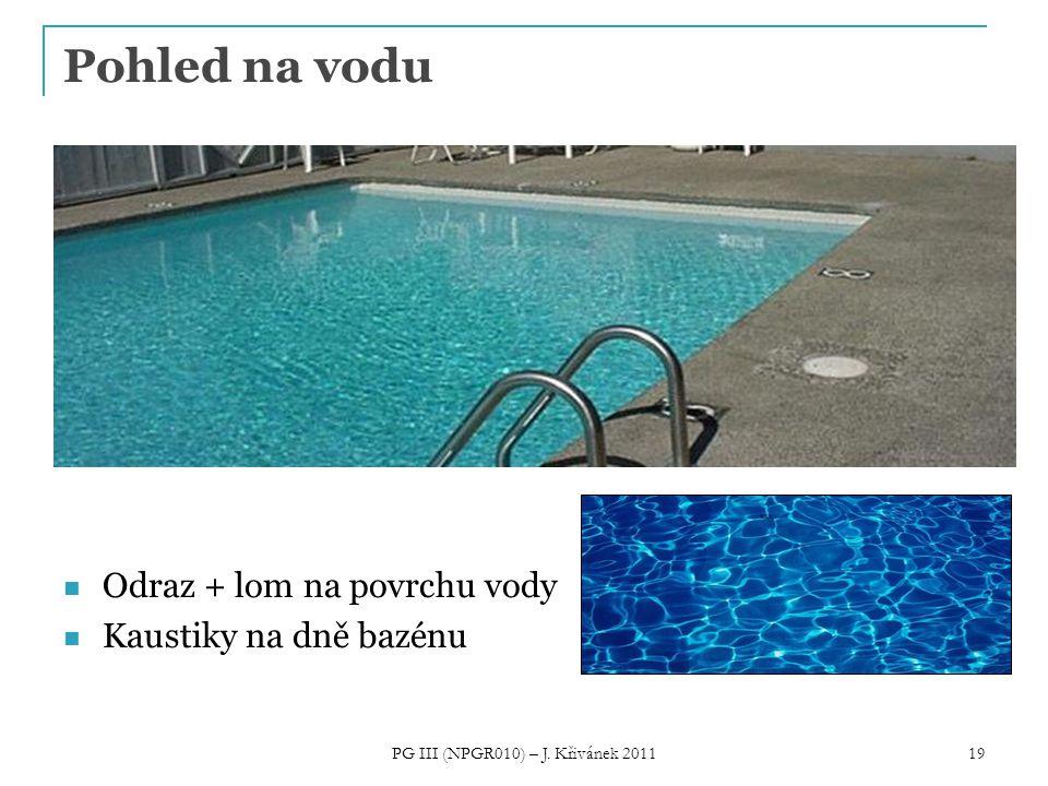 19 Pohled na vodu Odraz + lom na povrchu vody Kaustiky na dně bazénu PG III (NPGR010) – J. Křivánek 2011