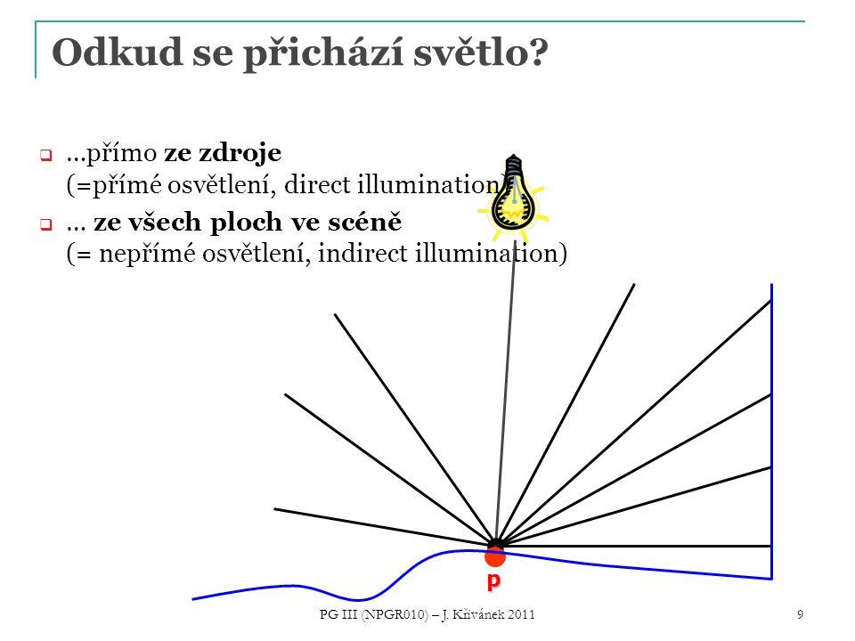 9 Odkud se přichází světlo?  …přímo ze zdroje (=přímé osvětlení, direct illumination)  … ze všech ploch ve scéně (= nepřímé osvětlení, indirect illu