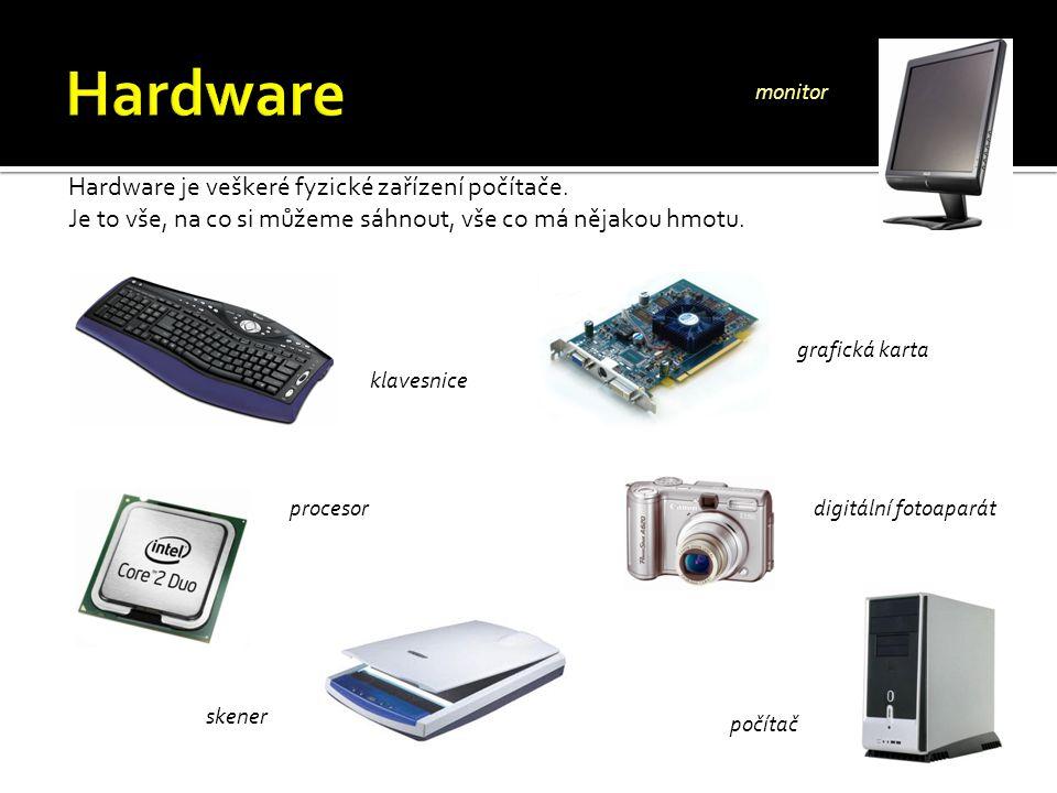 Hardware je veškeré fyzické zařízení počítače. Je to vše, na co si můžeme sáhnout, vše co má nějakou hmotu. klavesnice grafická karta procesor skener