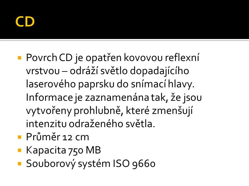  Povrch CD je opatřen kovovou reflexní vrstvou – odráží světlo dopadajícího laserového paprsku do snímací hlavy. Informace je zaznamenána tak, že jso