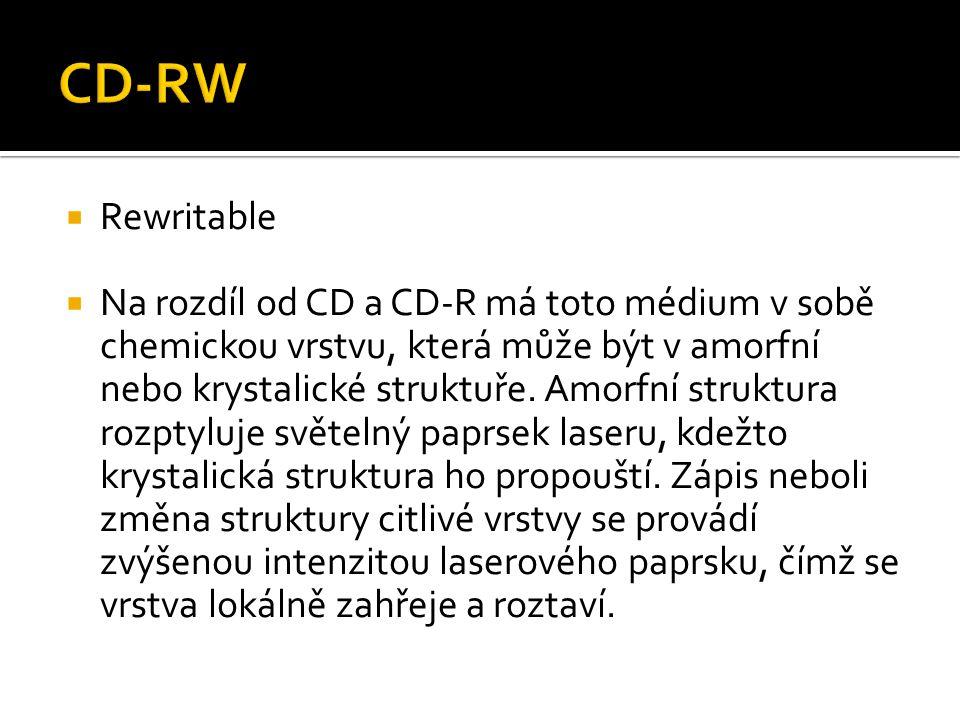  Rewritable  Na rozdíl od CD a CD-R má toto médium v sobě chemickou vrstvu, která může být v amorfní nebo krystalické struktuře. Amorfní struktura r