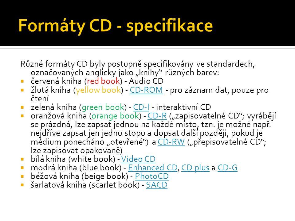 """Různé formáty CD byly postupně specifikovány ve standardech, označovaných anglicky jako """"knihy"""" různých barev:  červená kniha (red book) - Audio CD """