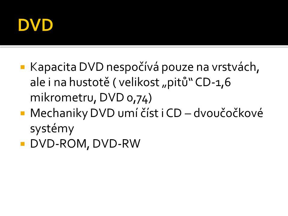 """ Kapacita DVD nespočívá pouze na vrstvách, ale i na hustotě ( velikost """"pitů"""" CD-1,6 mikrometru, DVD 0,74)  Mechaniky DVD umí číst i CD – dvoučočkov"""
