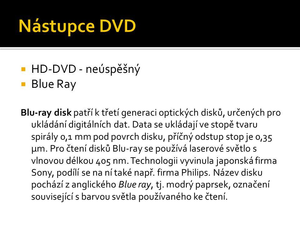  HD-DVD - neúspěšný  Blue Ray Blu-ray disk patří k třetí generaci optických disků, určených pro ukládání digitálních dat. Data se ukládají ve stopě