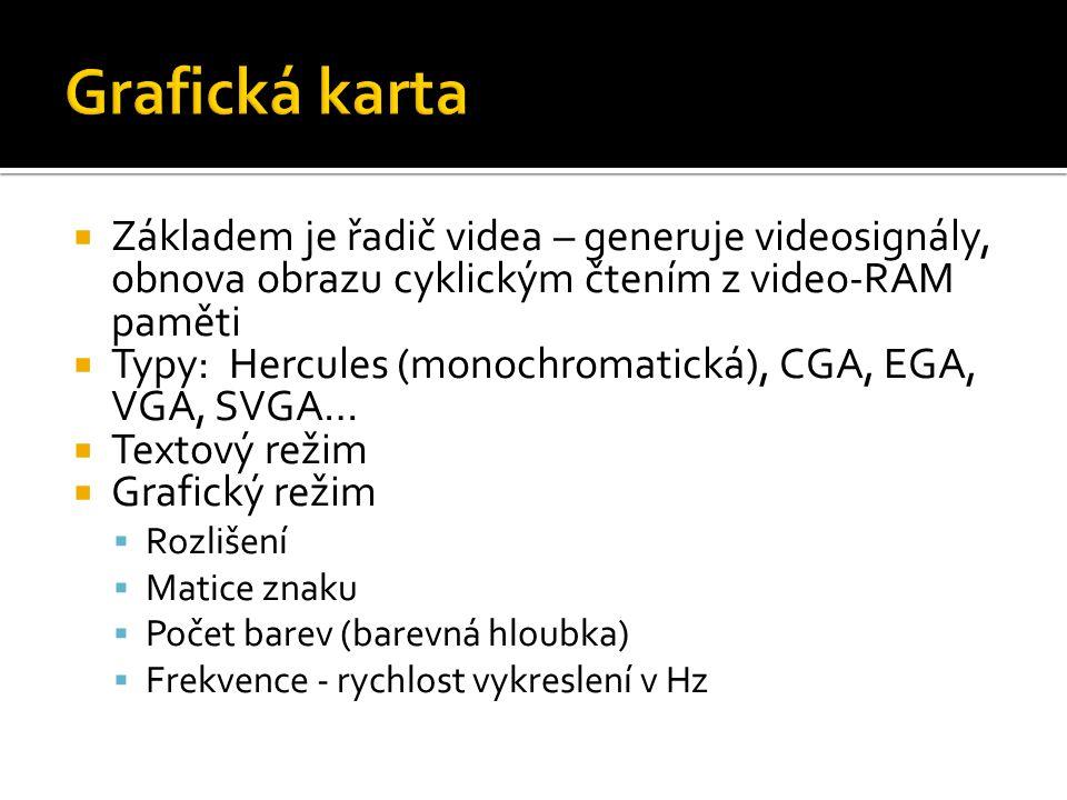  Základem je řadič videa – generuje videosignály, obnova obrazu cyklickým čtením z video-RAM paměti  Typy: Hercules (monochromatická), CGA, EGA, VGA