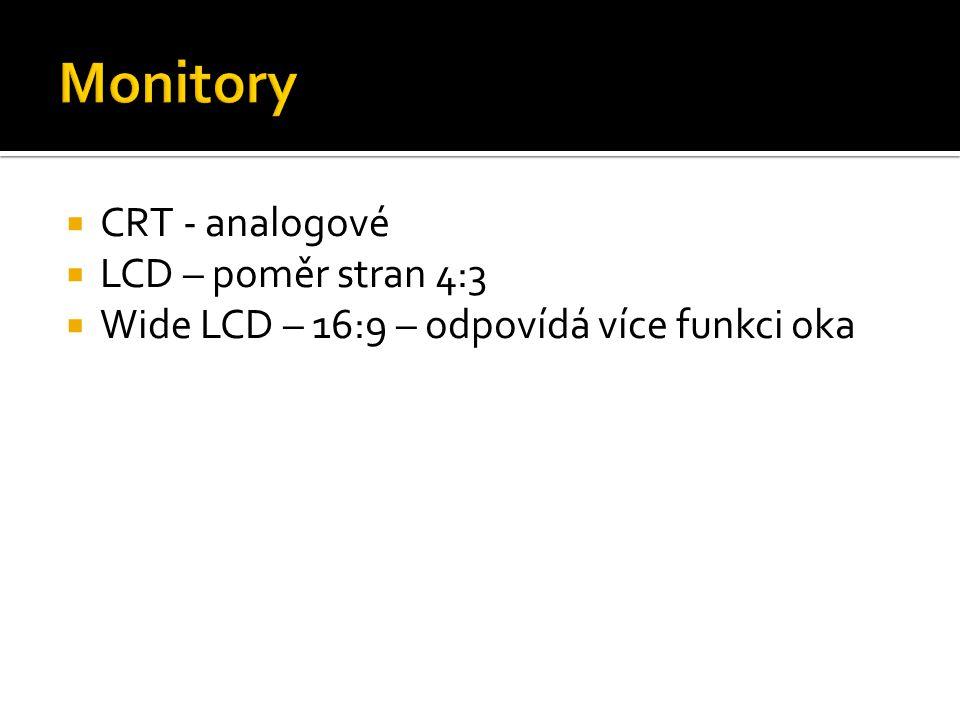  CRT - analogové  LCD – poměr stran 4:3  Wide LCD – 16:9 – odpovídá více funkci oka