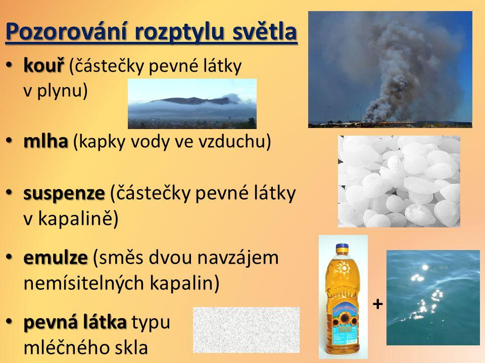 Pozorování rozptylu světla kouř kouř (částečky pevné látky v plynu) mlha mlha (kapky vody ve vzduchu) suspenze suspenze (částečky pevné látky v kapali