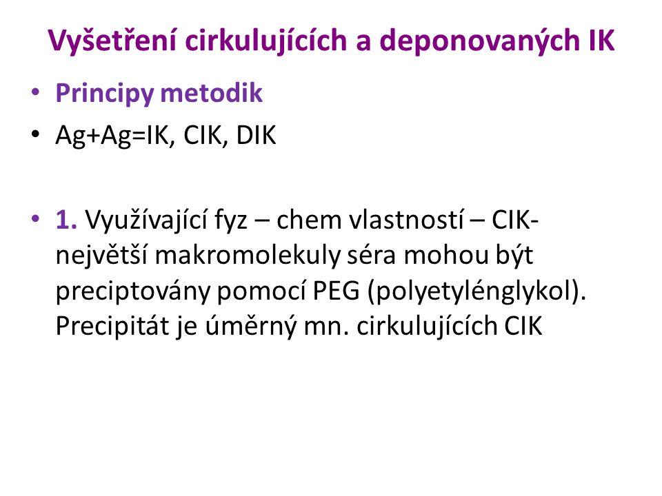 Vyšetření cirkulujících a deponovaných IK Principy metodik Ag+Ag=IK, CIK, DIK 1. Využívající fyz – chem vlastností – CIK- největší makromolekuly séra