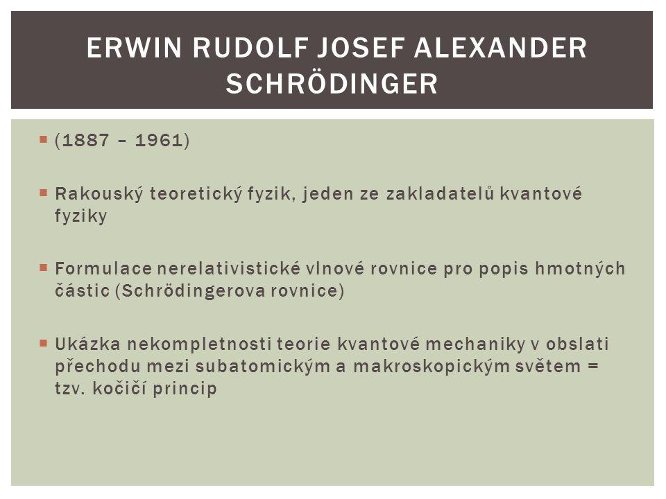  (1887 – 1961)  Rakouský teoretický fyzik, jeden ze zakladatelů kvantové fyziky  Formulace nerelativistické vlnové rovnice pro popis hmotných části