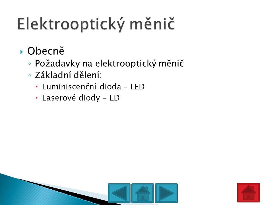  Obecně ◦ Požadavky na elektrooptický měnič ◦ Základní dělení:  Luminiscenční dioda – LED  Laserové diody - LD