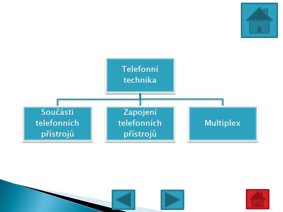 Telefonní technika Součásti telefonních přístrojů Zapojení telefonních přístrojů Multiplex