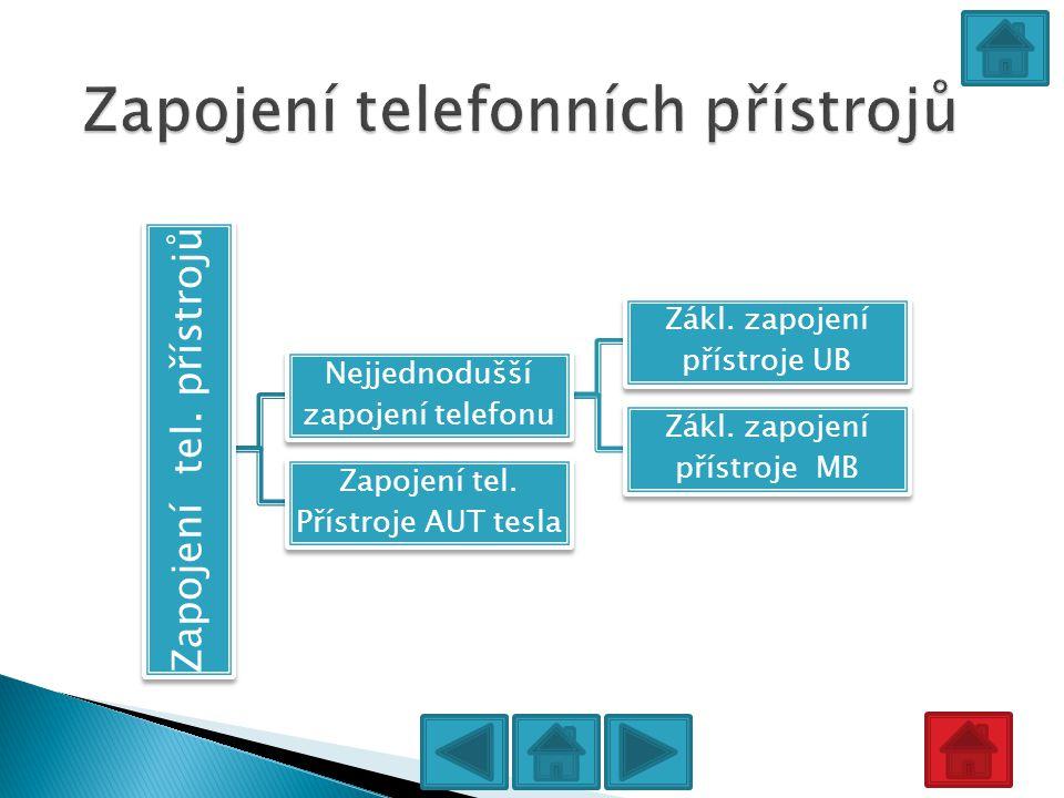 Zapojení tel. přístrojů Nejjednodušší zapojení telefonu Zákl. zapojení přístroje UB Zákl. zapojení přístroje MB Zapojení tel. Přístroje AUT tesla