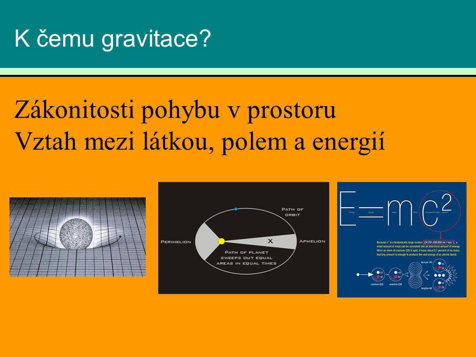 K čemu gravitace? Zákonitosti pohybu v prostoru Vztah mezi látkou, polem a energií