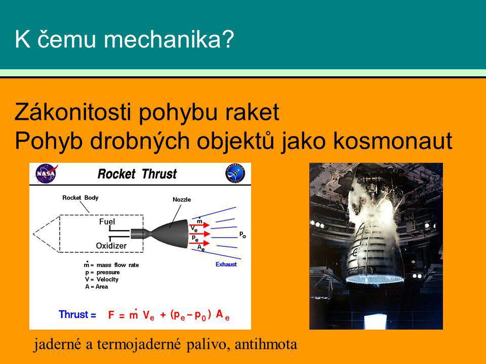 K čemu mechanika? Zákonitosti pohybu raket Pohyb drobných objektů jako kosmonaut jaderné a termojaderné palivo, antihmota