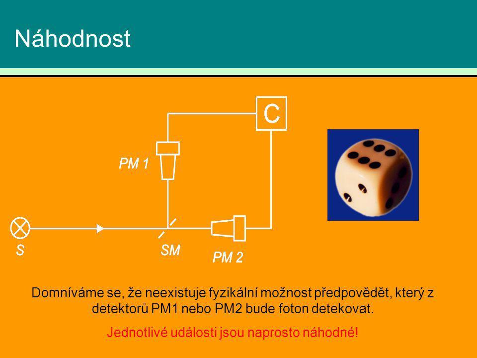 Náhodnost Domníváme se, že neexistuje fyzikální možnost předpovědět, který z detektorů PM1 nebo PM2 bude foton detekovat. Jednotlivé události jsou nap