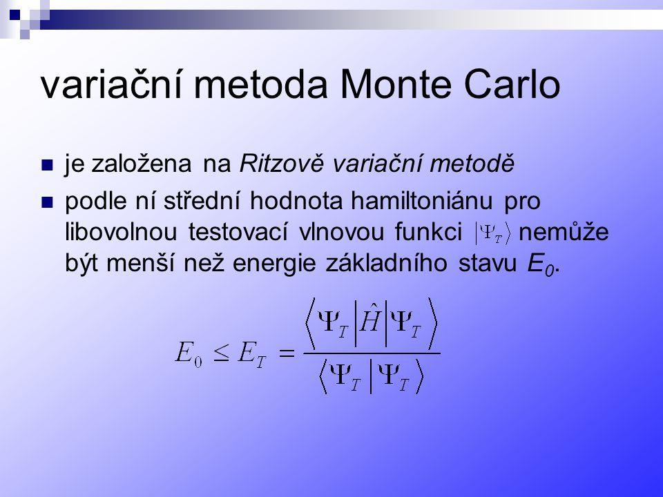 variační metoda Monte Carlo je založena na Ritzově variační metodě podle ní střední hodnota hamiltoniánu pro libovolnou testovací vlnovou funkci nemůže být menší než energie základního stavu E 0.