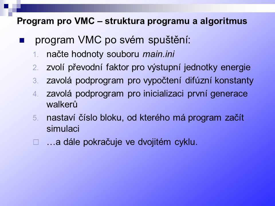 Program pro VMC – struktura programu a algoritmus program VMC po svém spuštění: 1.