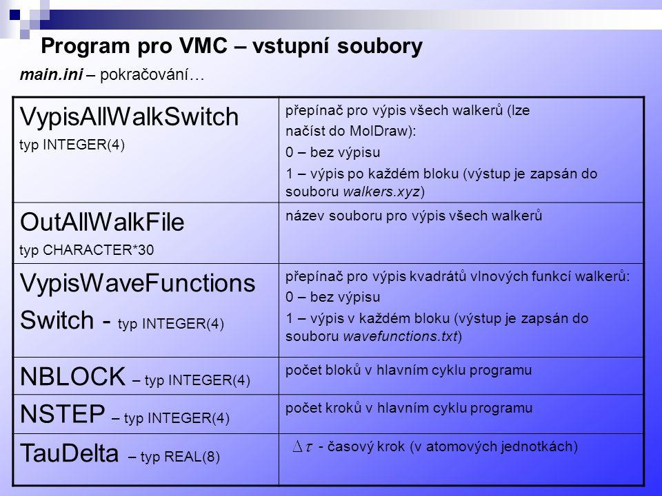 Program pro VMC – vstupní soubory VypisAllWalkSwitch typ INTEGER(4) přepínač pro výpis všech walkerů (lze načíst do MolDraw): 0 – bez výpisu 1 – výpis po každém bloku (výstup je zapsán do souboru walkers.xyz) OutAllWalkFile typ CHARACTER*30 název souboru pro výpis všech walkerů VypisWaveFunctions Switch - typ INTEGER(4) přepínač pro výpis kvadrátů vlnových funkcí walkerů: 0 – bez výpisu 1 – výpis v každém bloku (výstup je zapsán do souboru wavefunctions.txt) NBLOCK – typ INTEGER(4) počet bloků v hlavním cyklu programu NSTEP – typ INTEGER(4) počet kroků v hlavním cyklu programu TauDelta – typ REAL(8) - časový krok (v atomových jednotkách) main.ini – pokračování…