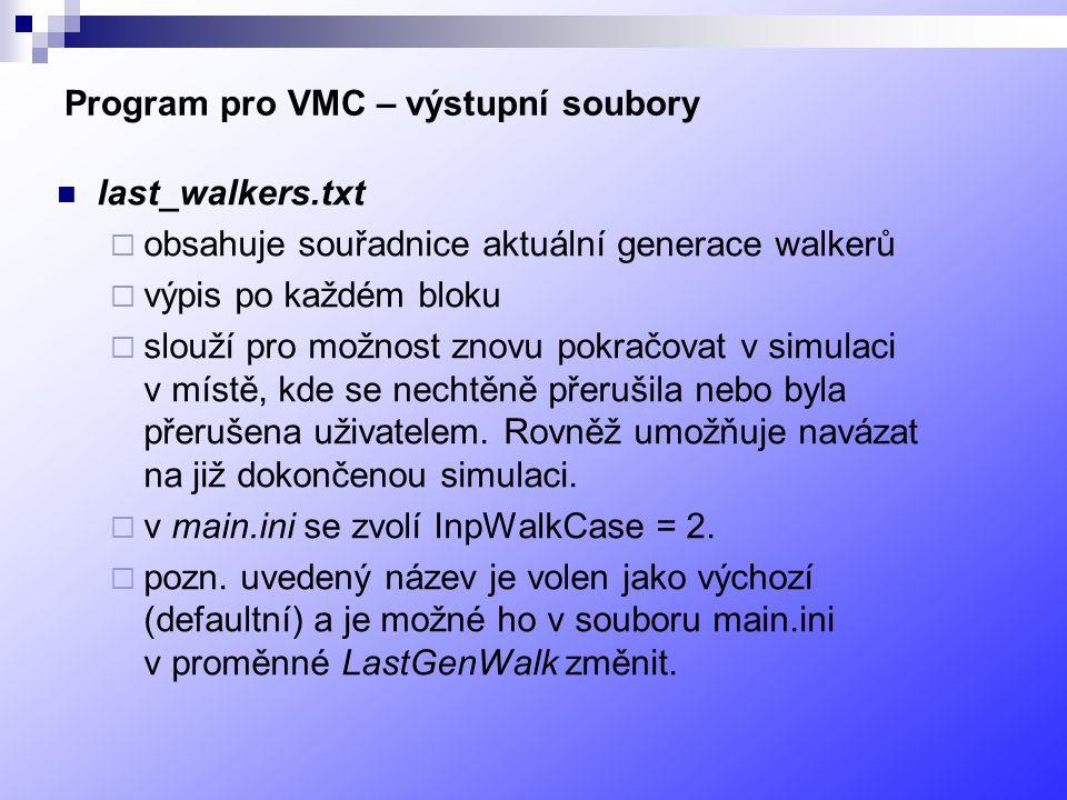 Program pro VMC – výstupní soubory last_walkers.txt  obsahuje souřadnice aktuální generace walkerů  výpis po každém bloku  slouží pro možnost znovu pokračovat v simulaci v místě, kde se nechtěně přerušila nebo byla přerušena uživatelem.