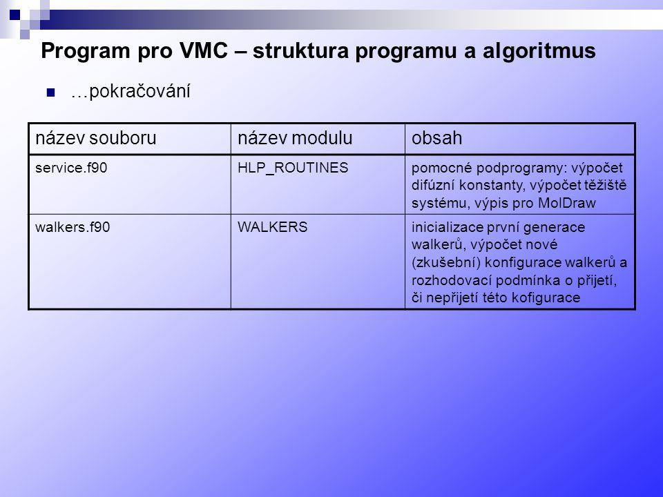 Program pro VMC – struktura programu a algoritmus …pokračování název souborunázev moduluobsah service.f90HLP_ROUTINESpomocné podprogramy: výpočet difúzní konstanty, výpočet těžiště systému, výpis pro MolDraw walkers.f90WALKERSinicializace první generace walkerů, výpočet nové (zkušební) konfigurace walkerů a rozhodovací podmínka o přijetí, či nepřijetí této kofigurace