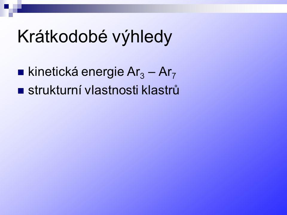 Krátkodobé výhledy kinetická energie Ar 3 – Ar 7 strukturní vlastnosti klastrů
