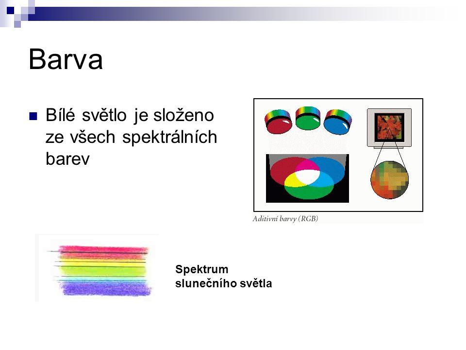 Barva Bílé světlo je složeno ze všech spektrálních barev Spektrum slunečního světla