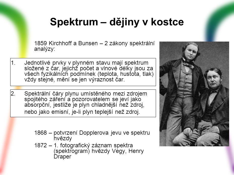 1859 Kirchhoff a Bunsen – 2 zákony spektrální analýzy: 1.Jednotlivé prvky v plynném stavu mají spektrum složené z čar, jejichž počet a vlnové délky js