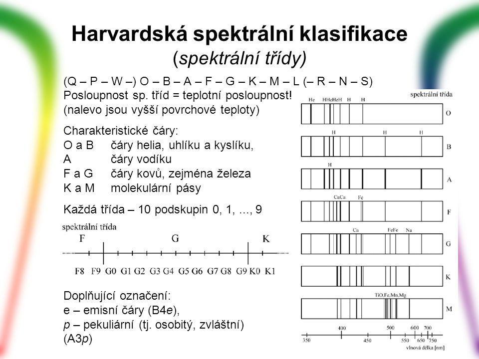 Harvardská spektrální klasifikace (spektrální třídy) (Q – P – W –) O – B – A – F – G – K – M – L (– R – N – S) Posloupnost sp. tříd = teplotní posloup